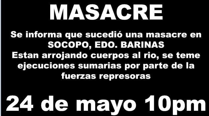 SOCOPO zona de muerte. Se registran extraoficialmente unos 20 asesinados por colectivos chavistas. MADURO DEBE CAER YA. ¿La OTAN qué espera?