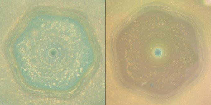 これは面白い発見!土星の北極付近にある六角形の渦のような領域は、季節によって色が変わると。大気の成分が季節変化するのかな。土星は公転周期が約30年と長く、季節変化を観測するのは大変なのですが、長生きのカッシーニ探査機、素晴らしいです→https://t.co/Xi9pvIQi0q