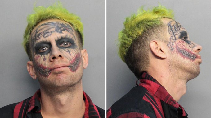 JOKER! A 29-year-old resembling the Joker villain from Batman was arrested after pointing a loaded gun at drivers. https://t.co/dq7TDvAcMB