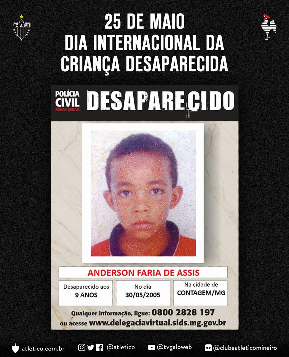 Dia Internacional da Criança Desaparecida: qualquer info sobre Anderson Faria de Assis, ligue 08002828197 ou acesse https://t.co/cr17dHFzz6