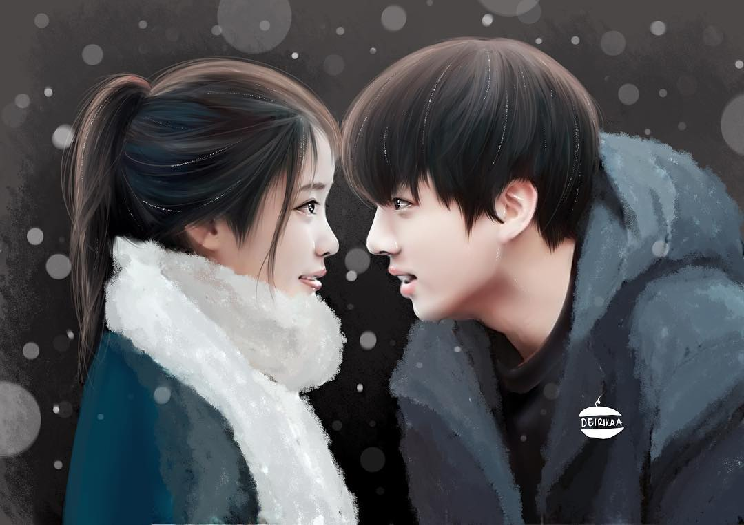 "Whats Happening >> ENA🌀 on Twitter: ""beautiful fanart by @deirikaa ️ #kooku #jungkook #iu #bts @BTS_twt…"