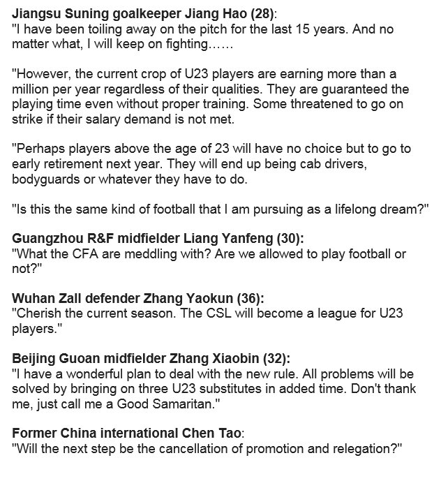 Some of China&#39;s Over-23s are not happy about the new rule set to be introduced in #CSL. <br>http://pic.twitter.com/iMACJccziT