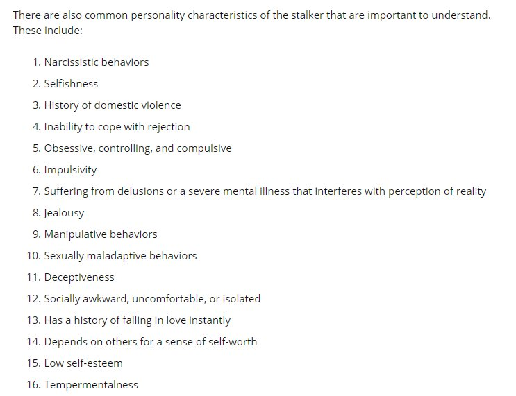 Personality traits of Stalkers:  #Narcissism #Stalking #Control #Obsession #Crime<br>http://pic.twitter.com/EJmqEvGTvm