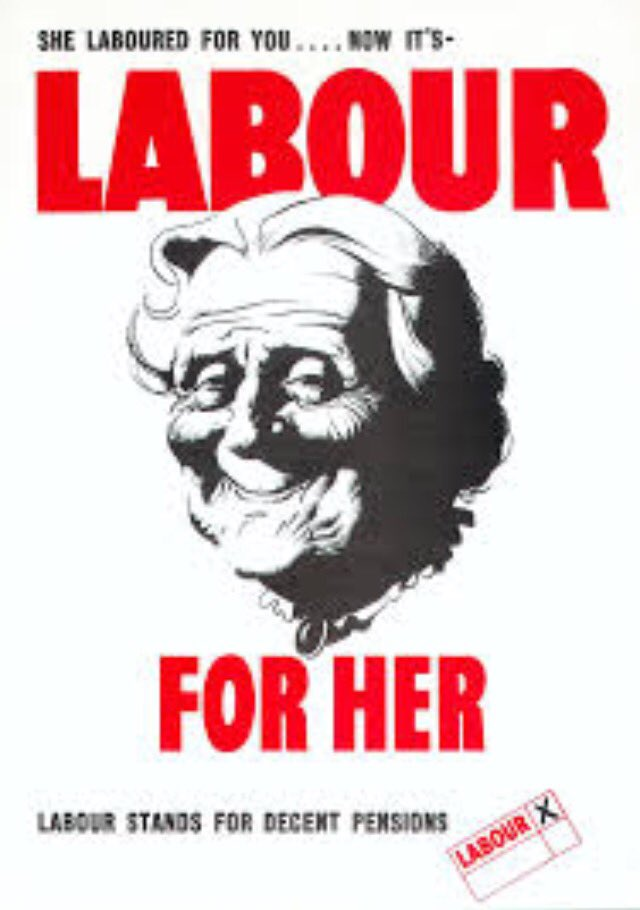 1945 #Election Poster - She laboured for you. Now it&#39;s LABOUR for her. Labour stands for decent pensions <br>http://pic.twitter.com/PqsbksoHQS