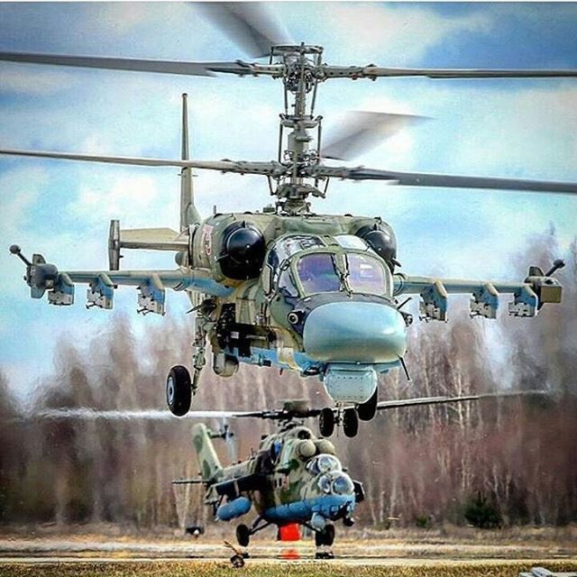 #Russian #AirForce  Ka-52 and Mi-35M.   Rotary_wing #Helicopter_daily<br>http://pic.twitter.com/96OJ4PRzMg