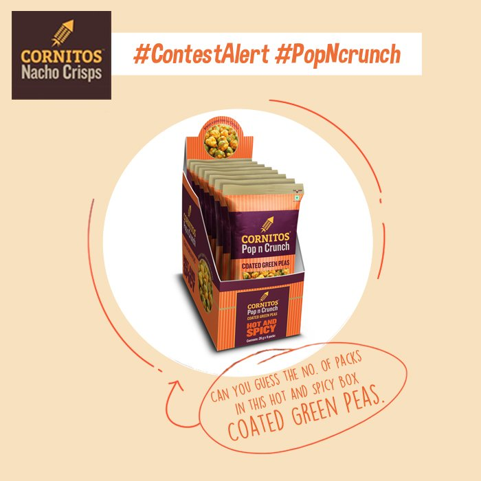 #ContestAlert #PopNcrunch Can you guess the no. of packs in this Hot and Spicy Box Coated Green Peas. #Like #Share #Comment #Tag #Win<br>http://pic.twitter.com/xTZGlGiMT1