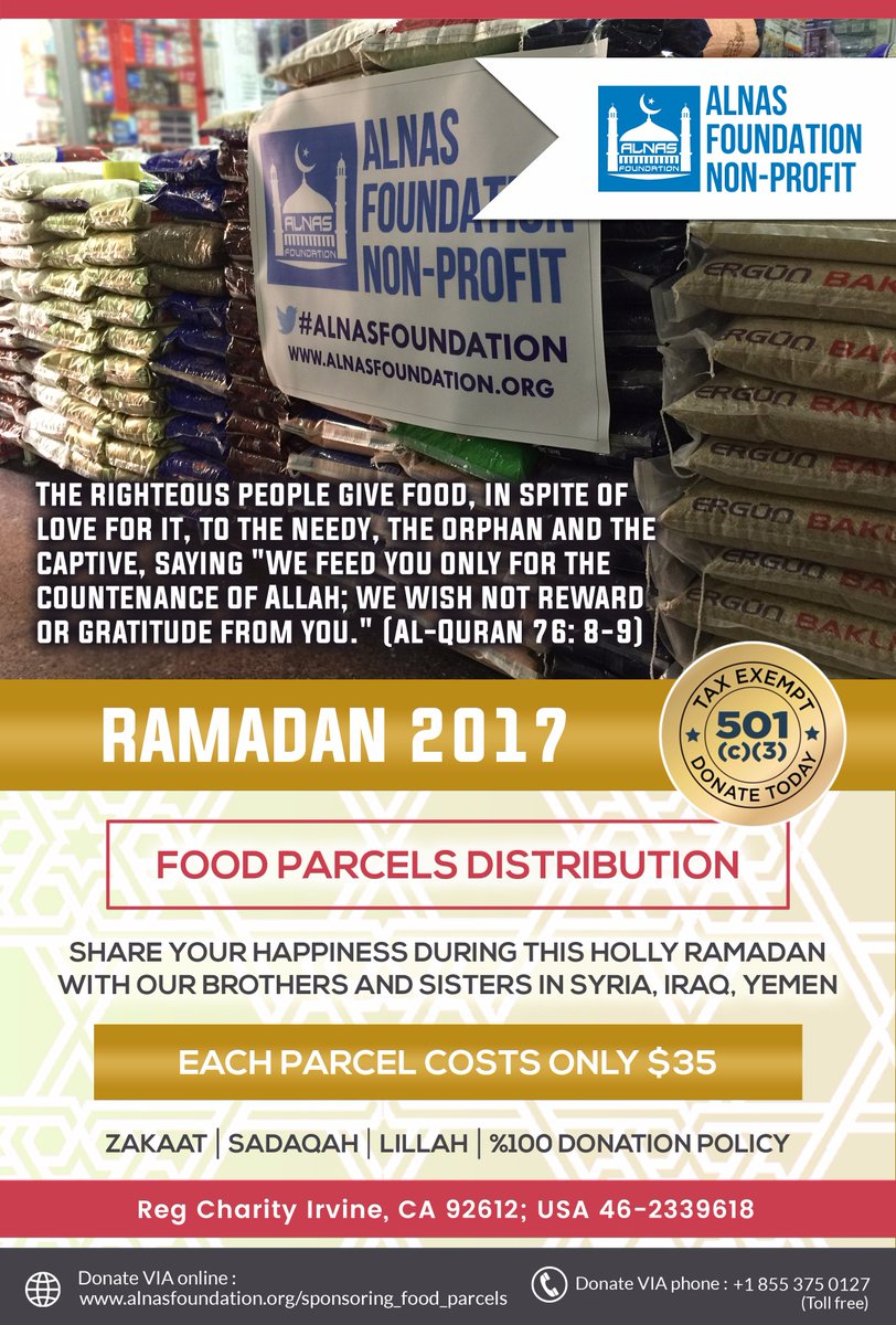Please Support Our #FoodForNeedy Project, %100 Donation policy Donate a Parcel to #Refugees for just $35/each  https://www. justgiving.com/campaigns/char ity/alnas-foundation/food-parcels &nbsp; … <br>http://pic.twitter.com/avW6FGwP5f