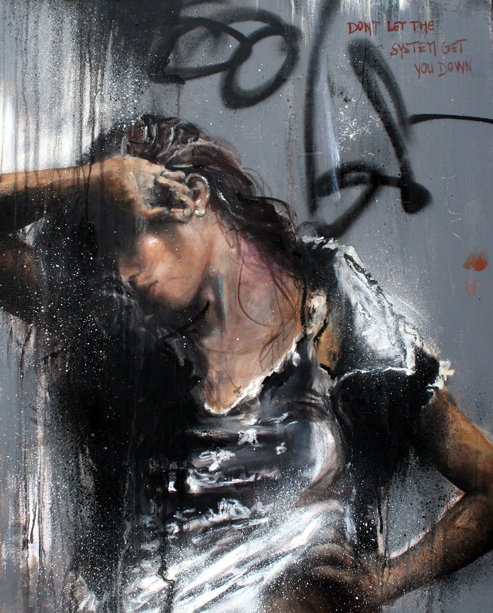 #art #painting #oil #canvas &quot;Don&#39;t let the system get you down&quot; By Cécile Desserle <br>http://pic.twitter.com/bua4TYuTP1
