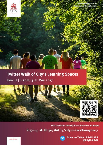 I signed up to Twitter Walk, next Weds 1-2pm. @cityunilondon staff - want to join us? https://t.co/q4GAJM88ut #Twalk #SIGCLANS #MELSIG #altc https://t.co/tand6OPUN4