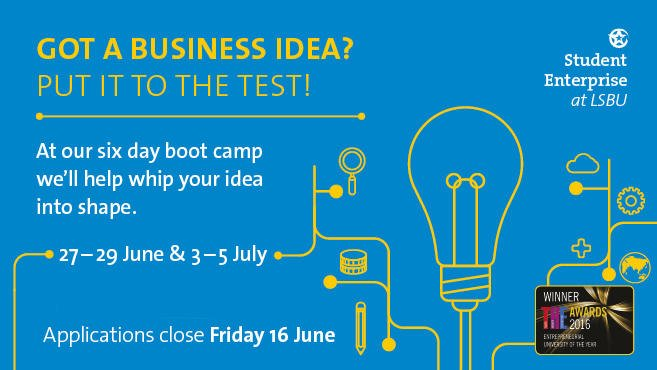 Any aspiring @LSBU alumni #entrepreneurs out there? Apply for our intensive 6-day boot camp by 16 June!  http:// fal.cn/uZ91  &nbsp;   #socent <br>http://pic.twitter.com/47adCWjx2f