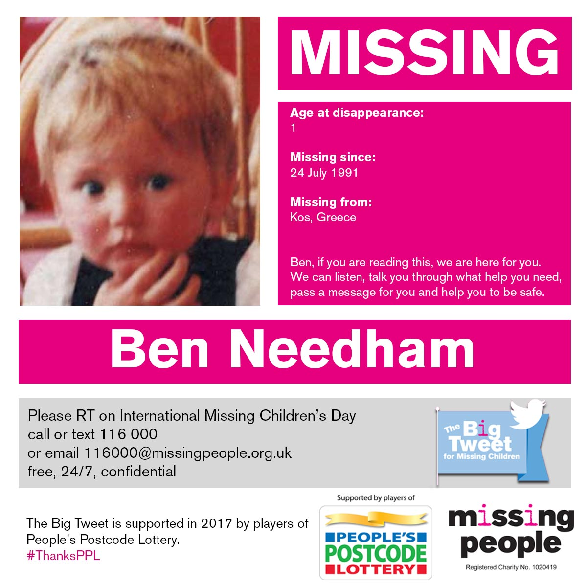 Ben went missing from #Kos #Greece in 1991 at the age of just 1. https://t.co/wKSFl5z23i #FindEveryChild #ThanksPPL