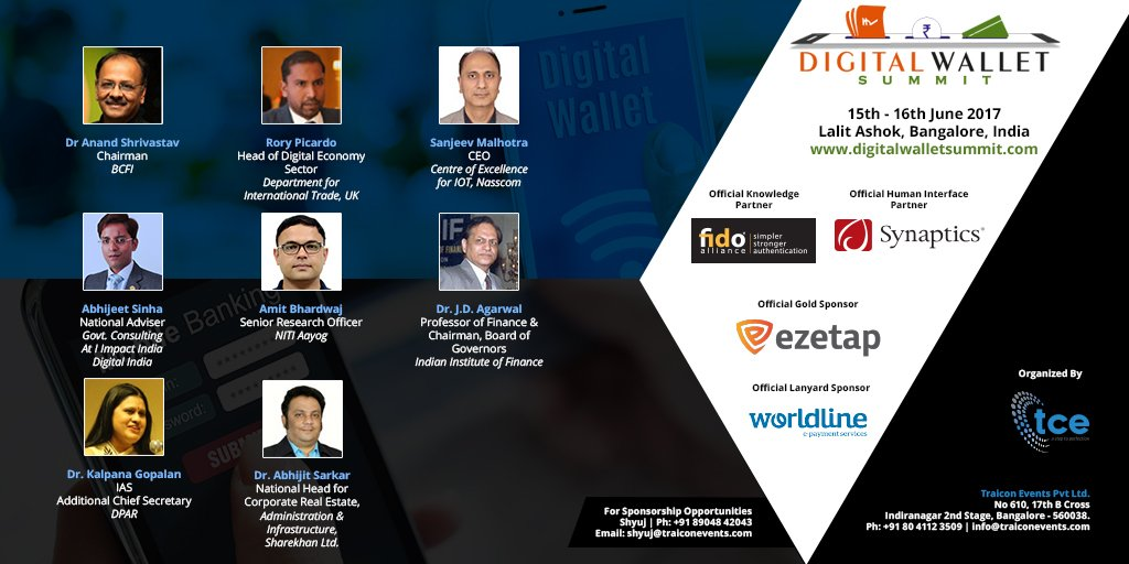 Come join us at India Digital Wallet Summit 2017 Bangalore 15th – 16th June 2017th.  http:// bit.ly/2qVPehs  &nbsp;   @traicon_events #digitalwallet <br>http://pic.twitter.com/9ZsPFfP16n