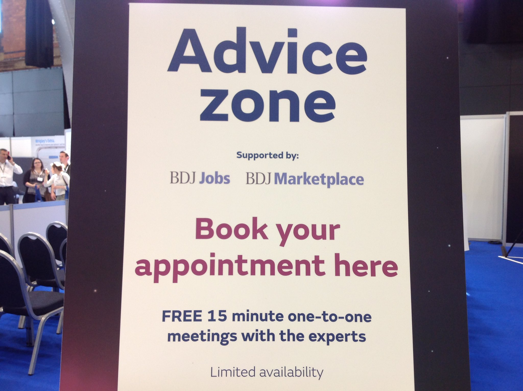 Book a free 15 minute appointment at the advice zone! Hurry - limited slots available #BDA2017 @BDJJobs https://t.co/uriEKRFY5D