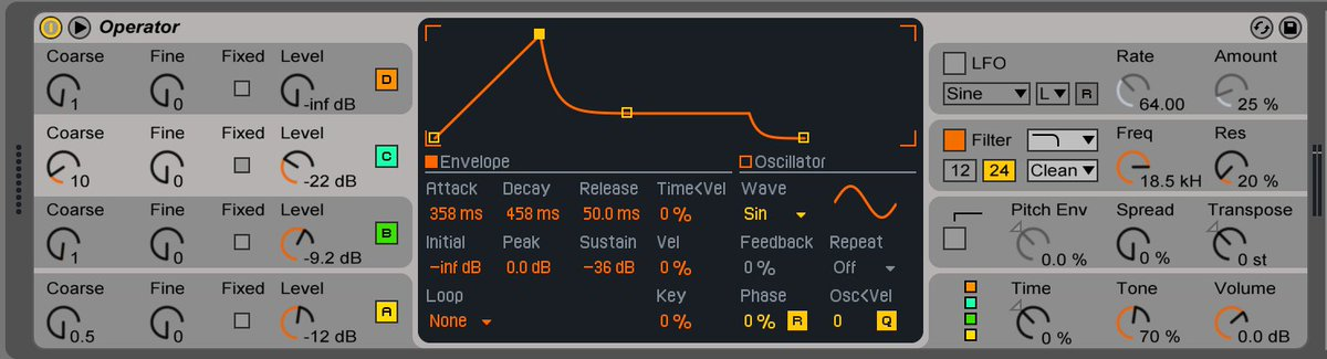 bass design in operator! #ableton #operator #drumnbass #synthesis #bass<br>http://pic.twitter.com/Phnky2Xi4S