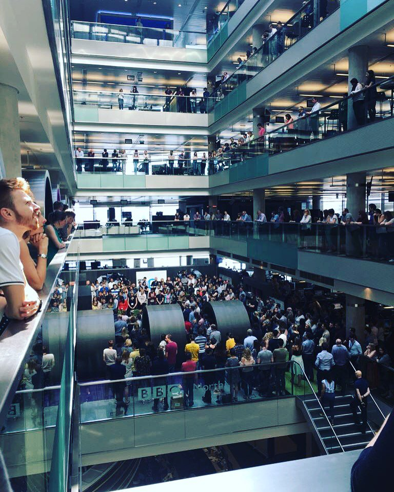 The staff at BBC North came together at 11am to remember the victims of Monday's attack #Manchester #WeStandTogether https://t.co/yLXbS2pdZf