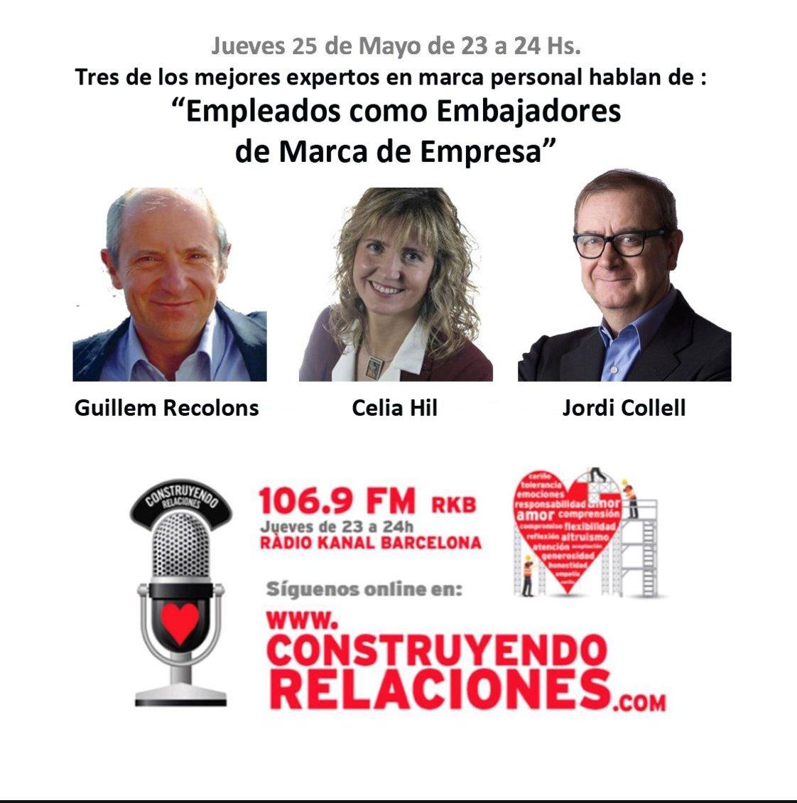 Esta noche nos escuchamos en @C_Relaciones con @CeliaHil @guillemrecolons y @Helmbrecht_R para hablar de #MarcaPersonal https://t.co/k9kpH81vge
