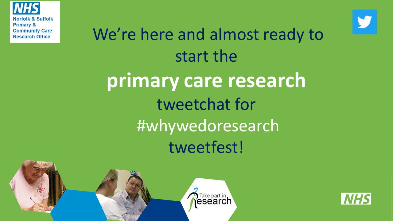 30mins until we start Primary Care Research #whywedoresearch tweetchat. We'd love to know your thoughts  @haining_s @EmbraNurse @CLAHRC_EoE https://t.co/CE34qmefeK