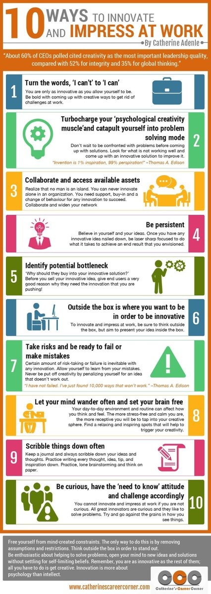 Stand out in the workplace &amp; get noticed. Here&#39;s 10 eays to #innovate &amp; impress at #work.<br>http://pic.twitter.com/iE31eByb4c
