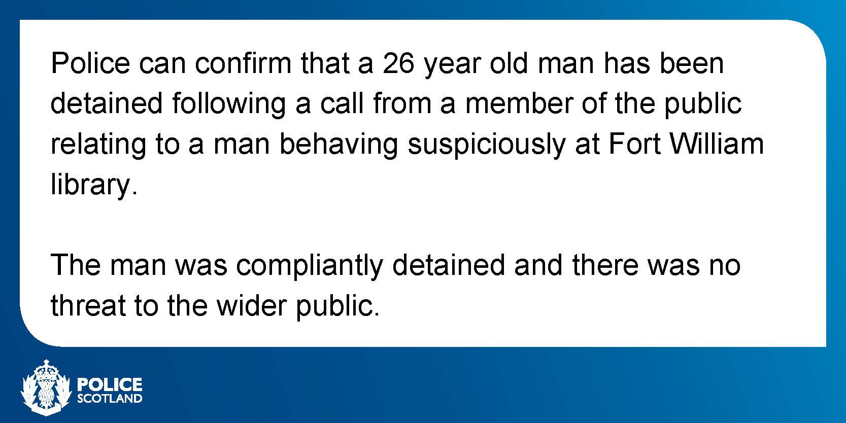 Police Scotland issued this statement confirming the arrest around 12pm