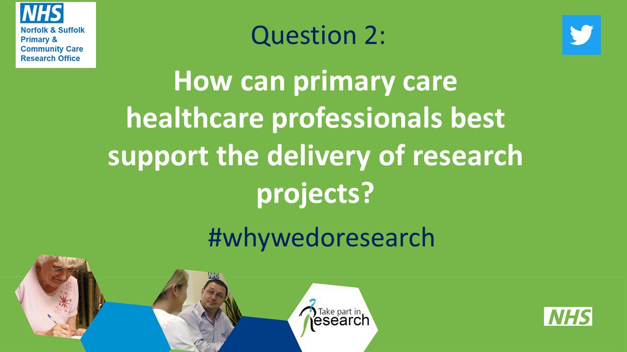 Moving onto Q2. What has worked well for you when supporting the delivery of research in primary care?  #whywedoresearch https://t.co/6Esr5wQRiB