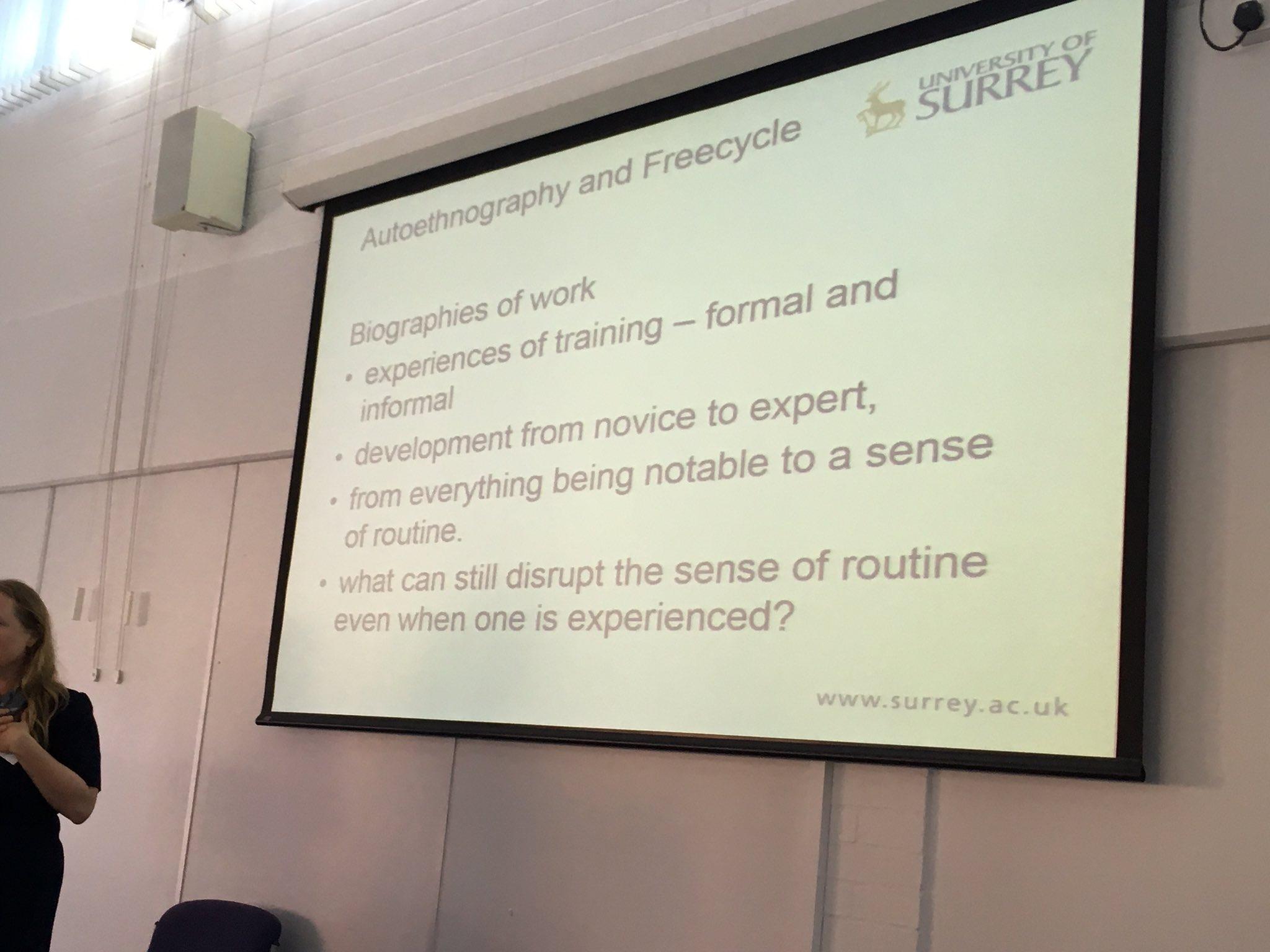 Fascinating talk from Chris Hine on how we might use autoethnography to capture digital work #RMDigital @SurreySociology @dosrhul https://t.co/hbANUjegzv