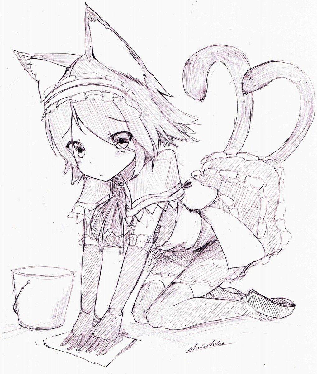 雑巾がけをじろじろ見られていたことに気づいた猫又ちゃん https://t.co/Kpx4Folfh0