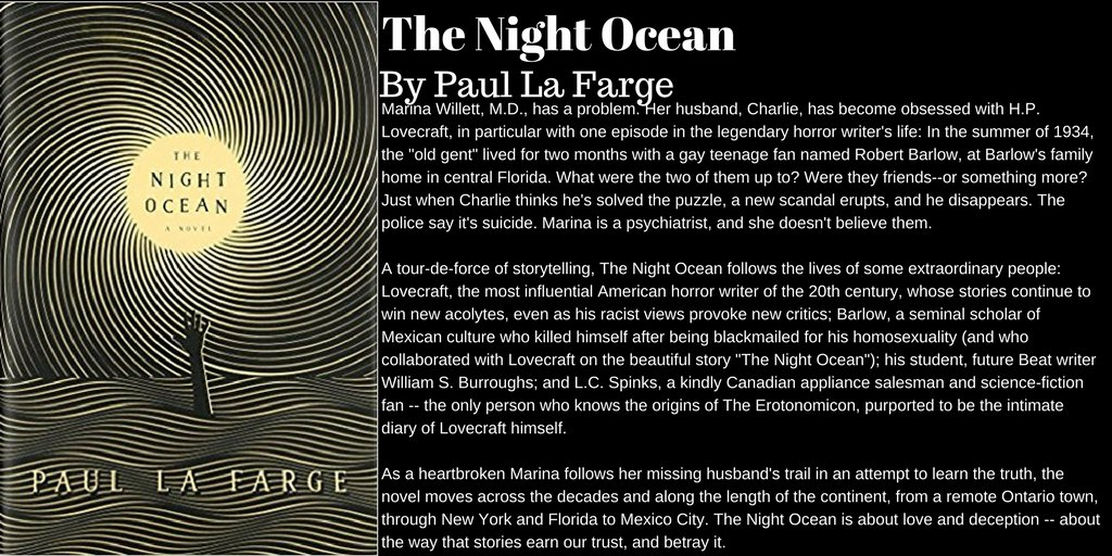 The Night Ocean by Paul La Farge  http:// amzn.to/2o02Ndf  &nbsp;   #Books #Novel #Fiction #Horror #HPLovecraft<br>http://pic.twitter.com/KHnQ369QAU