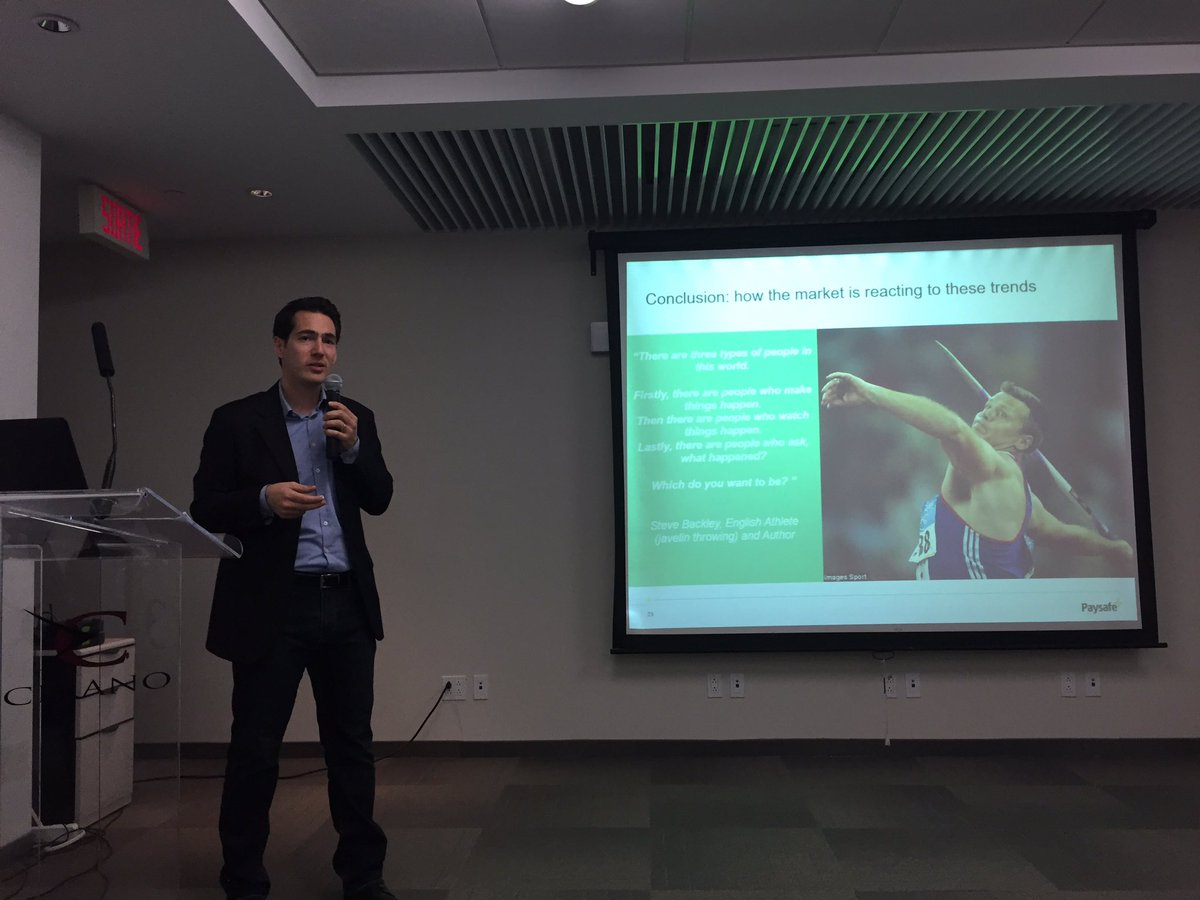 Major trends to watch in #payments #omnichannel #mobilepayments glocalization regulations #fraud according to @altman_fr @FinanceMontreal<br>http://pic.twitter.com/aWjueibWJu