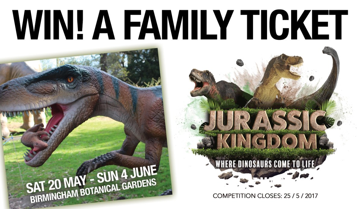 LAST CHANCE TO #WIN! A FAMILY TICKET to @jurassickndm at @BhamBotanicalGd from 20 May-4 Jun. FOLLOW + RT before 11pm TONIGHT!<br>http://pic.twitter.com/i6B6ghck0x