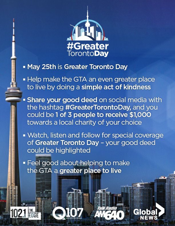Today is #GreaterTorontoDay!  Do a good deed to help make this city ev...