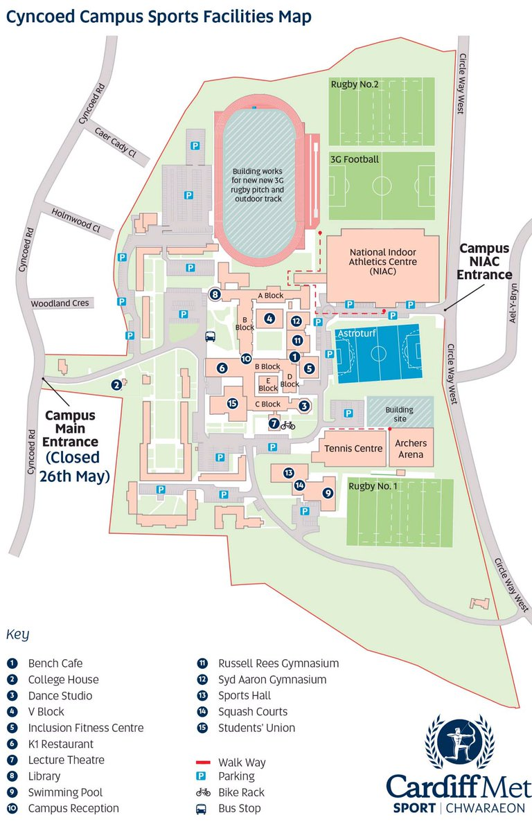 cardiff met sport on twitter sport facilities users  cyncoed campus mainentrance closed to vehicles on friday th may pls use niac campusentrance. cardiff met sport on twitter sport facilities users  cyncoed