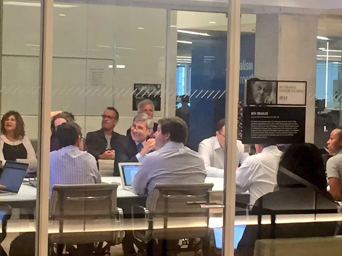 Tom Hanks, and  Spielberg, are sitting in on the @washingtonpost news meeting for upcoming movie on Pentagon Papers. https://t.co/IzI0DKqQg6