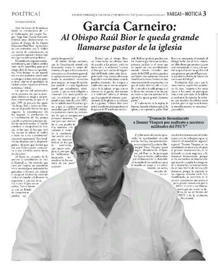 El ÚNICO recurso que le queda a Carneiro es insultar a Monseñor Biord por ponerse del lado de la gente!! #Vargas