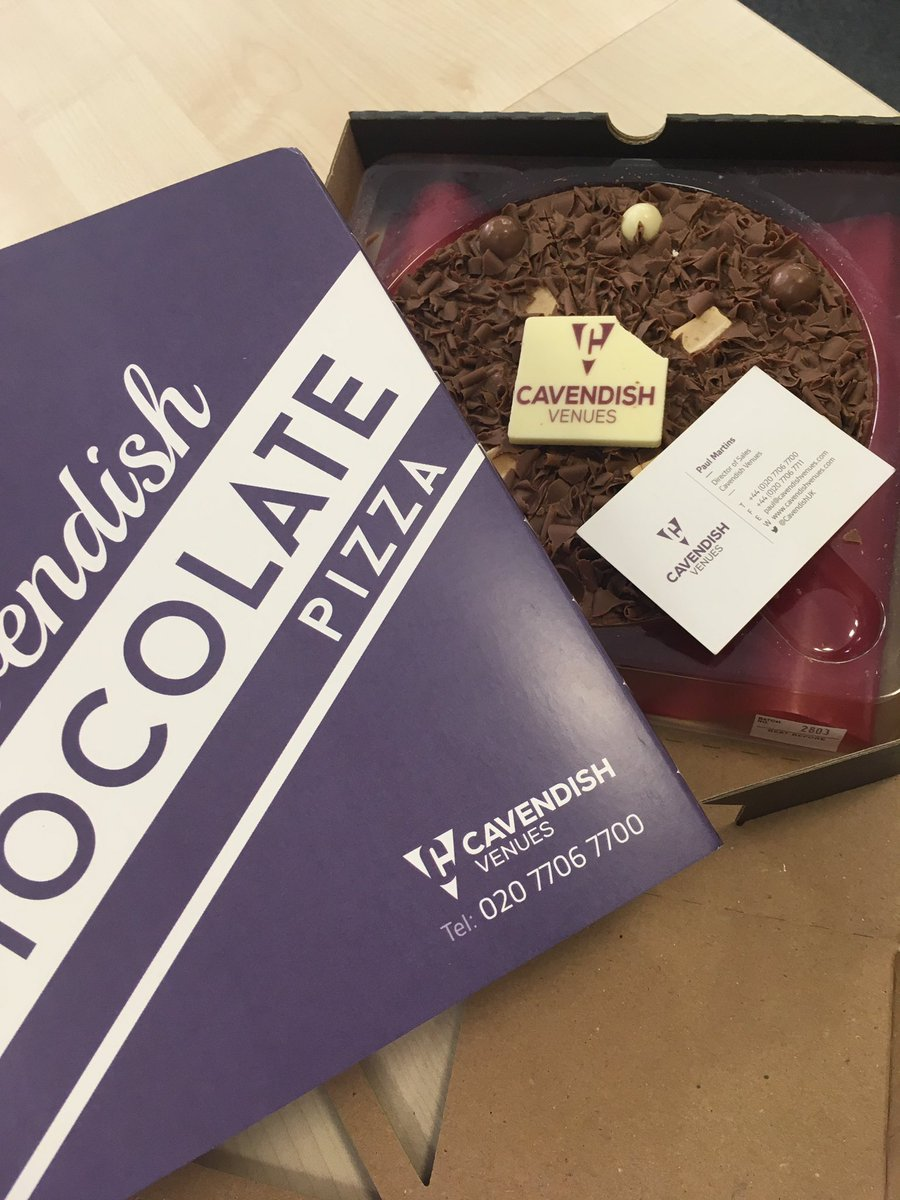Thank you @CavendishUK for the #lovely #chocolate #pizza #eventprofs <br>http://pic.twitter.com/JUc2SD7Vgk