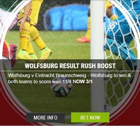 Wolfsburg to win    Both teams to score    Pays 3/1 here  http:// bit.ly/ladbrokescom  &nbsp;    Cash returns!! #Bundesliga #PlayOffs <br>http://pic.twitter.com/INVdNkXaiy