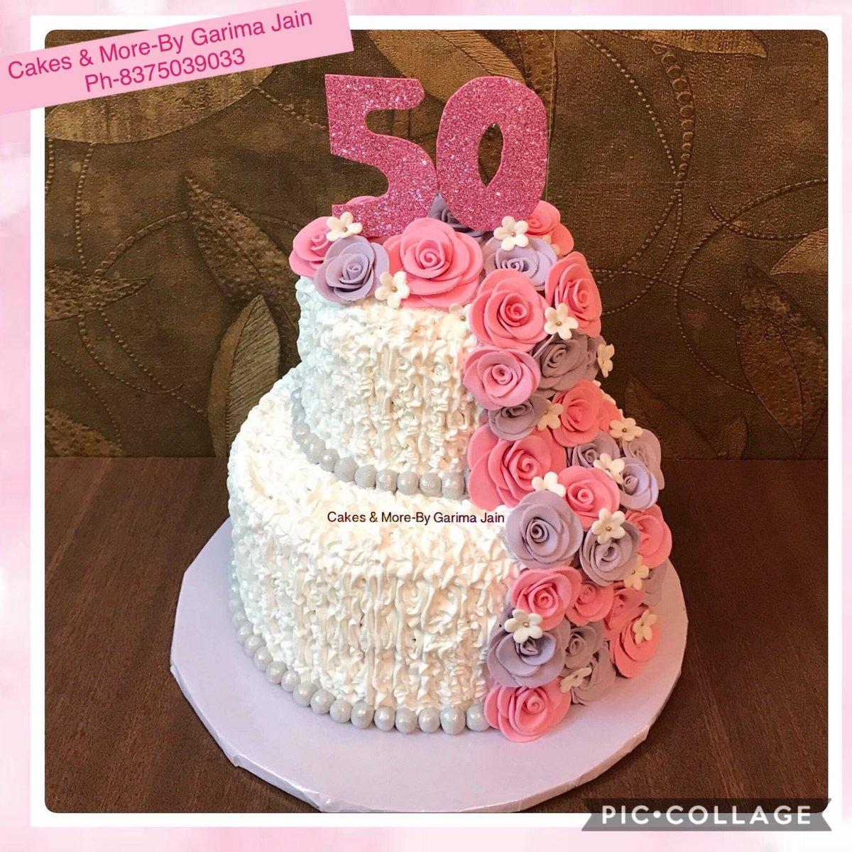 Wondrous Garima Jain On Twitter Creamcake 50Thbirthdaycake Twotiercake Personalised Birthday Cards Veneteletsinfo