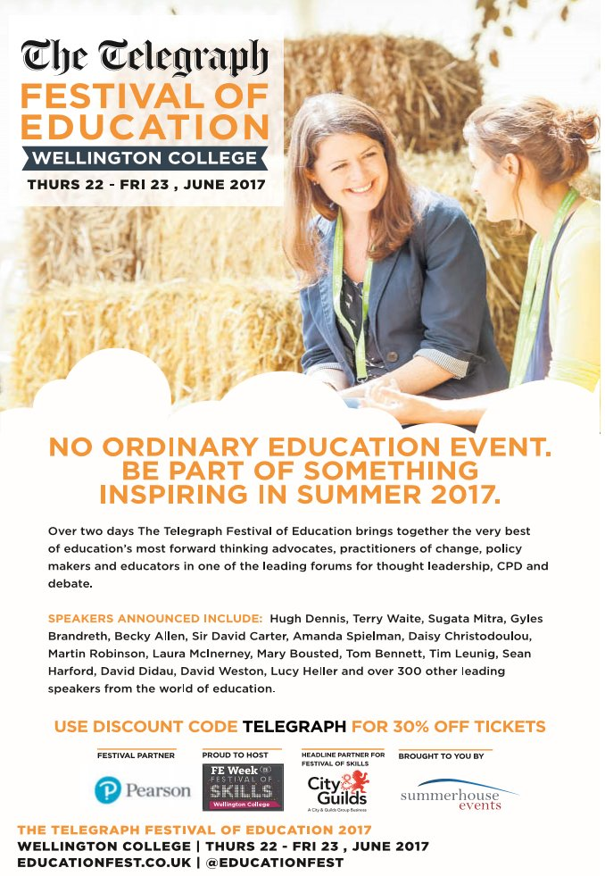 Outstanding #SEN strand at #educationfest this year:  http:// mailchi.mp/summerhouseea/ acj8baq5g2-485217?e=[UNIQID &nbsp; …  Get your tickets here:  https://www. eventbrite.co.uk/e/the-telegrap h-festival-of-education-2017-tickets-29678737904 &nbsp; … <br>http://pic.twitter.com/czOaQcdqFU