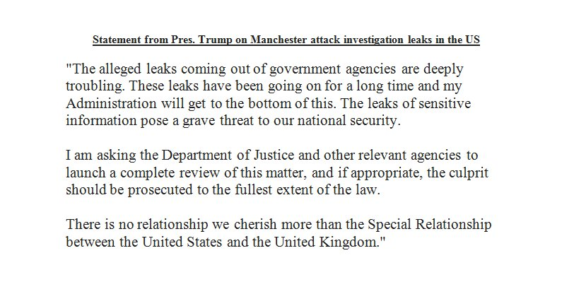 In response to complaints from UK over #ManchesterBombing intel leaks in US, Pres. Trump says instructs US Justice Dept. to conduct review.