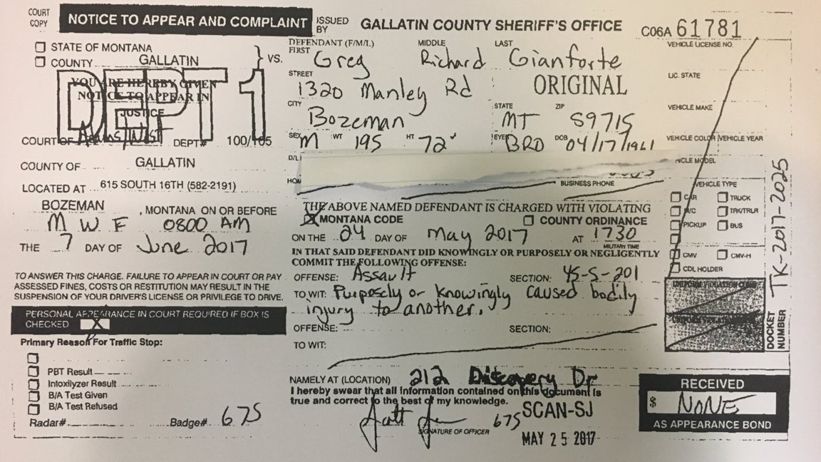 I\'ve obtained a copy of the Gallatin Co summons for Gianforte\'s assault charge >