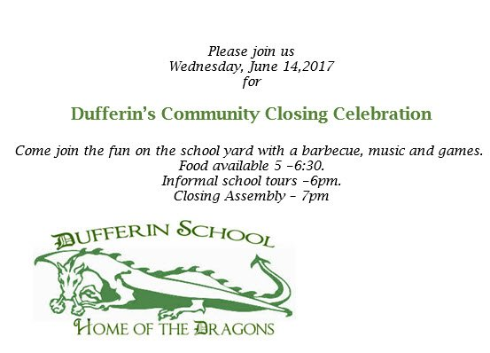 Come one, come all! A community closing celebration for Dufferin Elementary School in #OwenSound is set for Wed. June 14th.... <br>http://pic.twitter.com/i8Z2RZ2zRa
