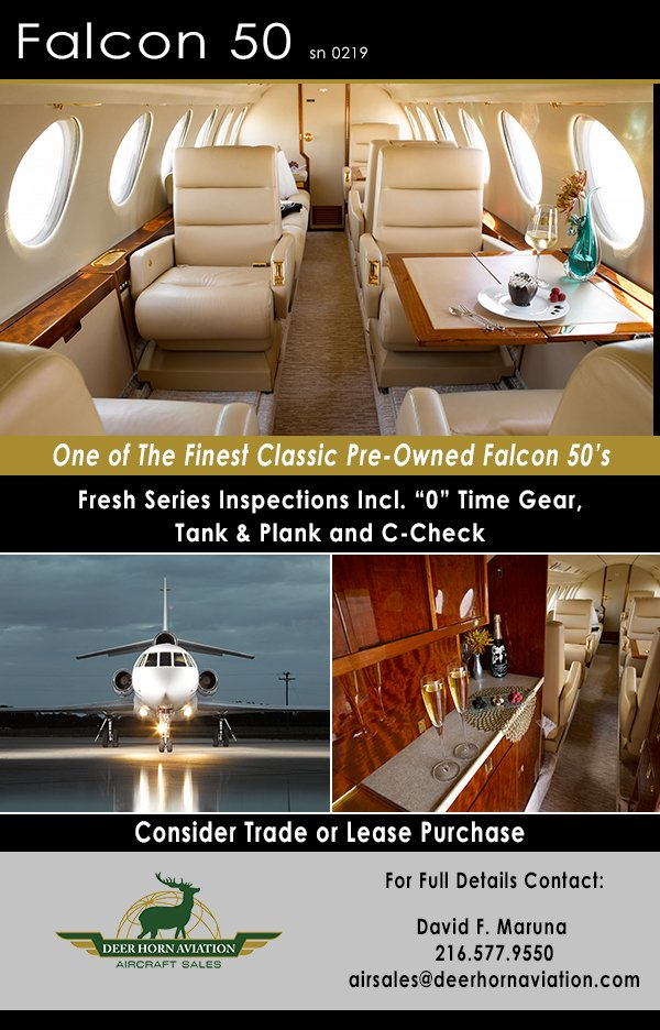 1991 Falcon 50 - One of the finest classic pre-owned Falcon 50s!  http://www. findaircraft.com/featured/deerh orn/91fal50-2.html &nbsp; …  #AircraftForSale #Falcon50 #Dassault <br>http://pic.twitter.com/RIBQ20inD8