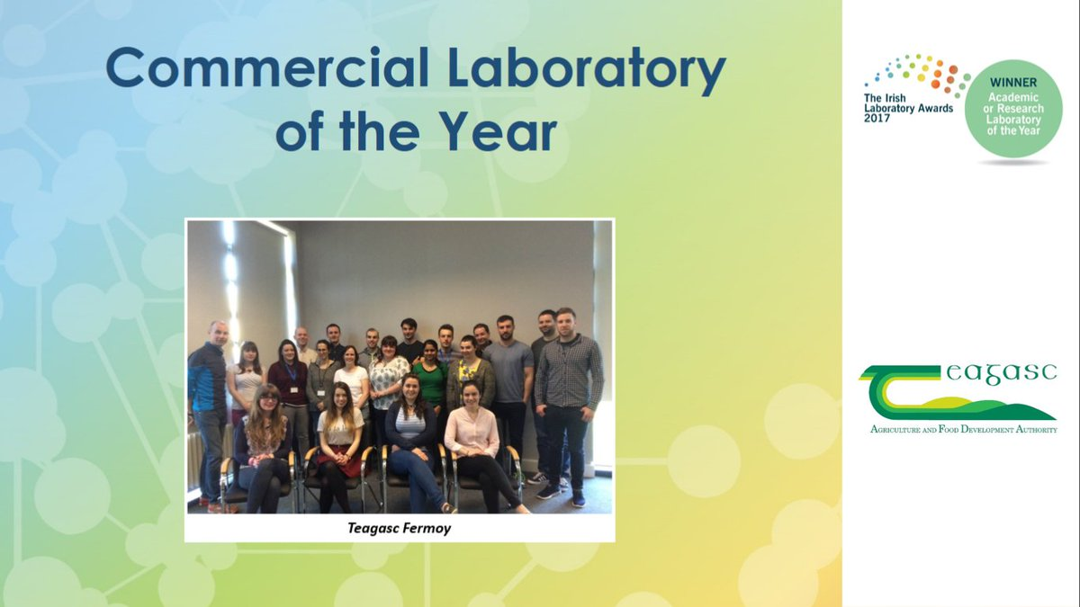 Congratulations to Vision I Food Research Laboratory - Teagasc Fermoy @teagasc on winning Commercial Laboratory of the Year! #IrishLabAwards <br>http://pic.twitter.com/Lhu85VeIdy