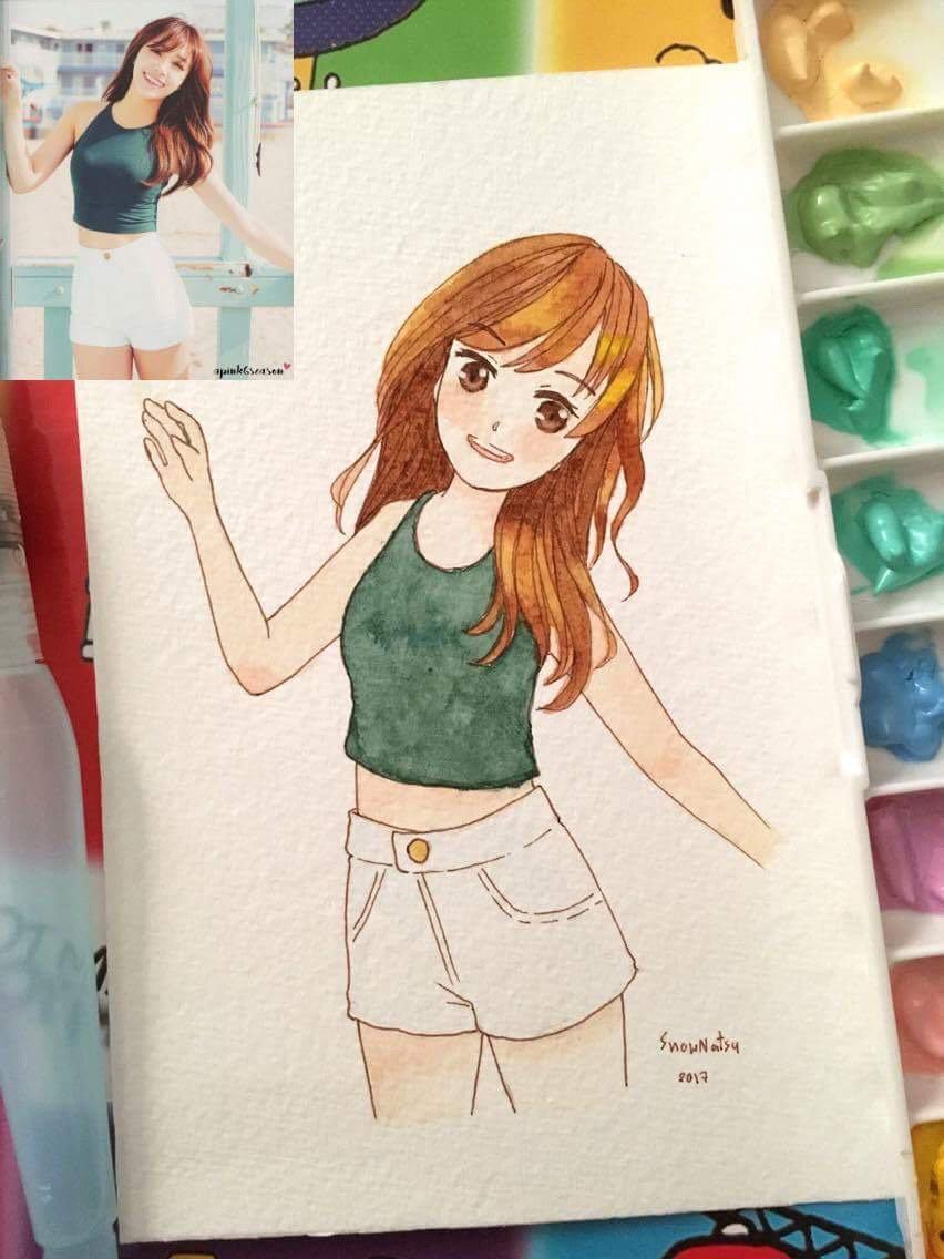 My old work. Try drawing cartoonie Eunji portrait. #watercolor #fanart #portrait #illustration #eunji #Apink<br>http://pic.twitter.com/ds6OJiaE30