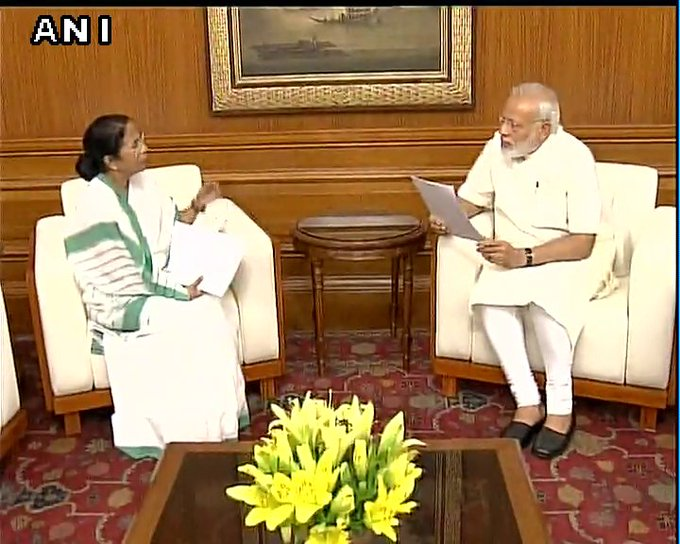 #Visuals West Bengal CM Mamata Banerjee met PM Narendra Modi and discussed development issues related to the state, earlier today