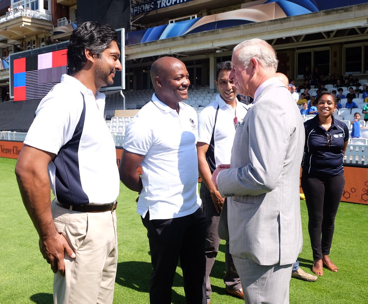 The Prince also met cricket players @KumarSanga2 @BrianLara @AzharMahmood11 &  at @Trottythe launch of the  Cha@ICCmpions' trophy.