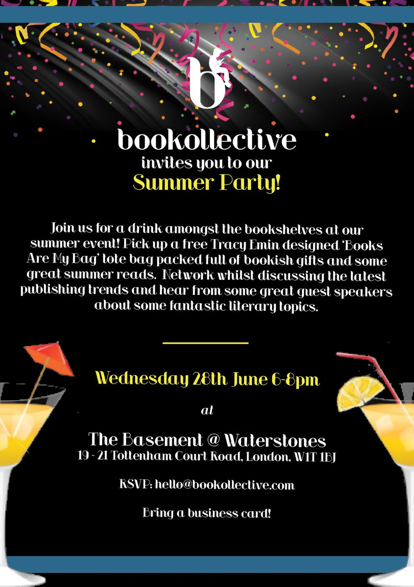 It&#39;s here! Work in #publishing? #Author or #writer? #TheBTeam #bookblogger?  Come along to our summer party! Rsvp at  http:// bookollective.com/events  &nbsp;  <br>http://pic.twitter.com/yb2TH1C1OD