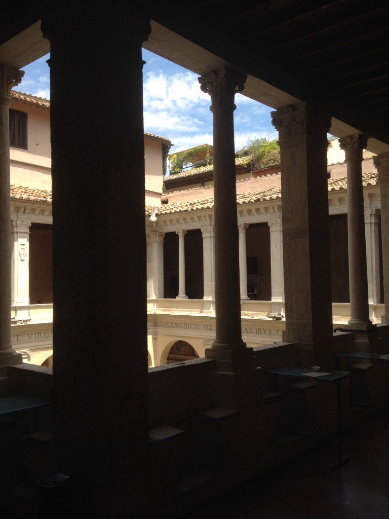 Take a break from #Roma #Rome heat &amp; crowds Beautiful Chiostro del Bramante. Caffe&#39; &amp; view of Raphael&#39;s frescos<br>http://pic.twitter.com/zhVEzrgrY2
