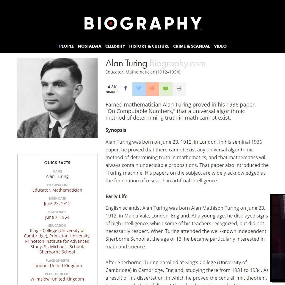 a biography of alan mathison turing a scientist Alan mathison turingalan mathison turing was a british mathematician and computer scientist who lived in the early twentieth century among important contributions in the field of mathematics, computer science, and philosophy, he developed a.