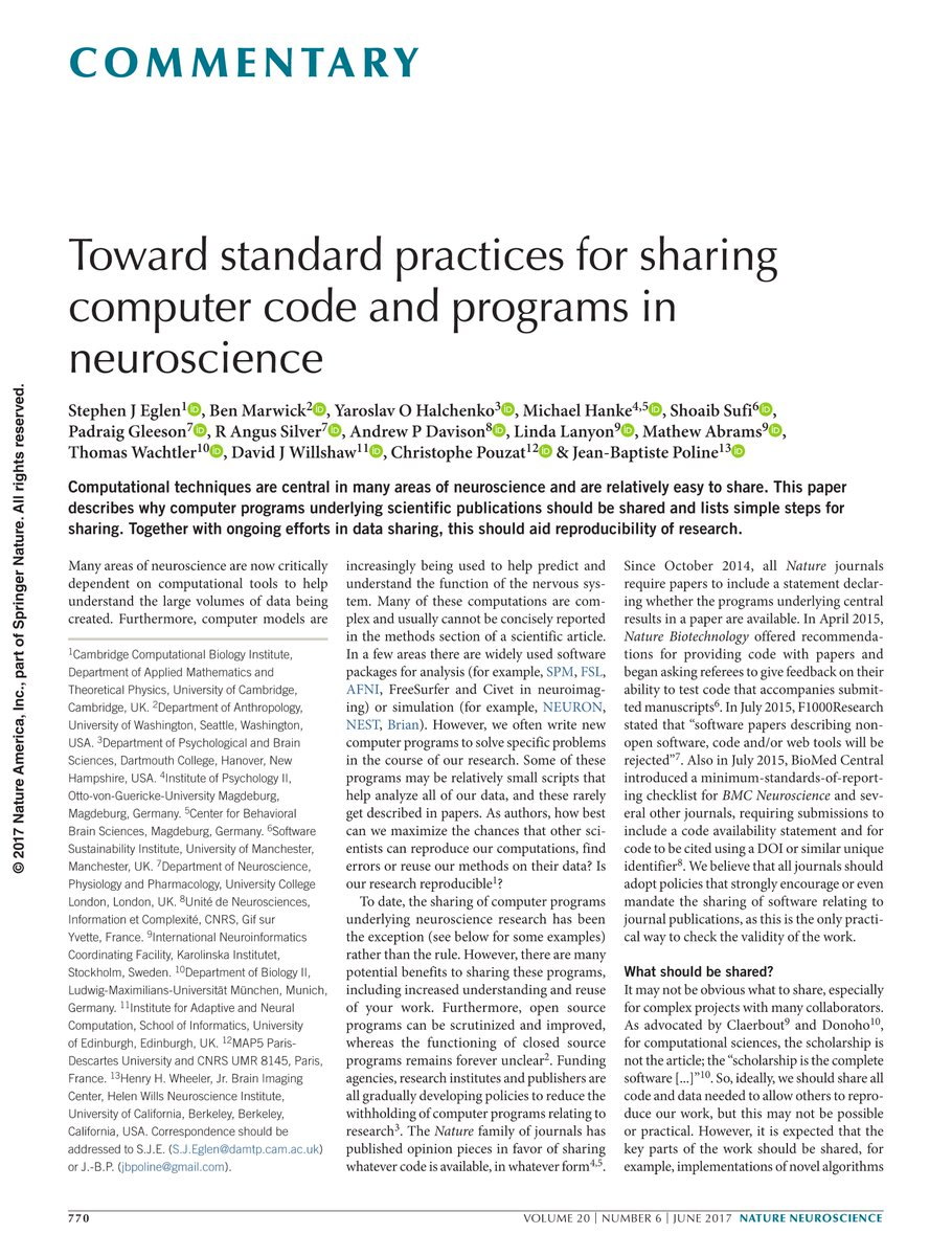 Just out in @NatureNeuro by @StephenEglen, me, et al.:&quot;Toward standard practices for sharing computer code&quot;, e.g. #rstats <br>http://pic.twitter.com/fktdZ7UCGc