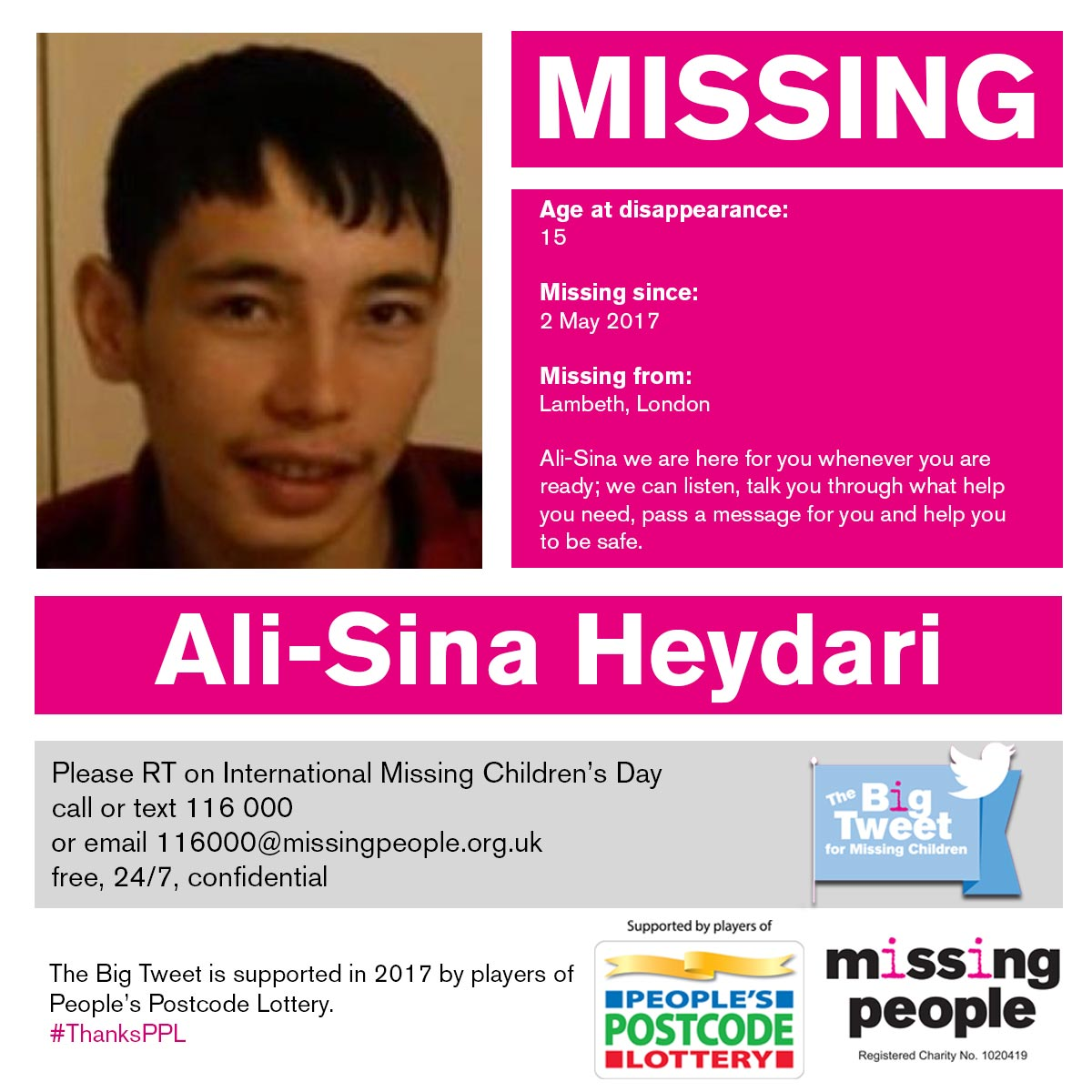 Ali-Sina is missing from #Lambeth #London. RT + help find him. Any info call 116 000  http://www. misspl.co/ieXi30c0L1r  &nbsp;   #FindEveryChild<br>http://pic.twitter.com/enAnQPqtFk